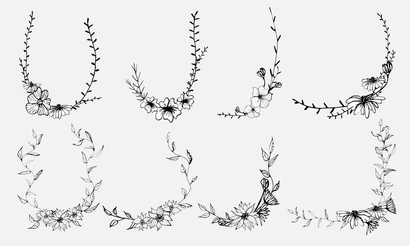 Handdragen blommor, Botaniskt dekorativt element för inbjudningskort, Vektor illustration.
