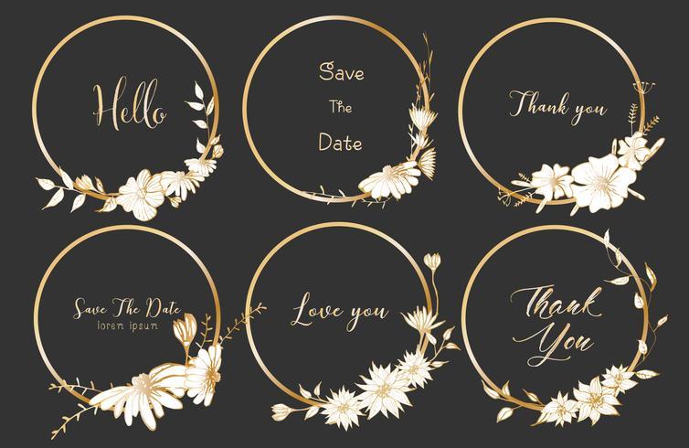 Satz runde Rahmen der Teiler, Hand gezeichnete Blumen, botanische Zusammensetzung, dekoratives Element für Hochzeitskarte, Einladungs-Vektorillustration.