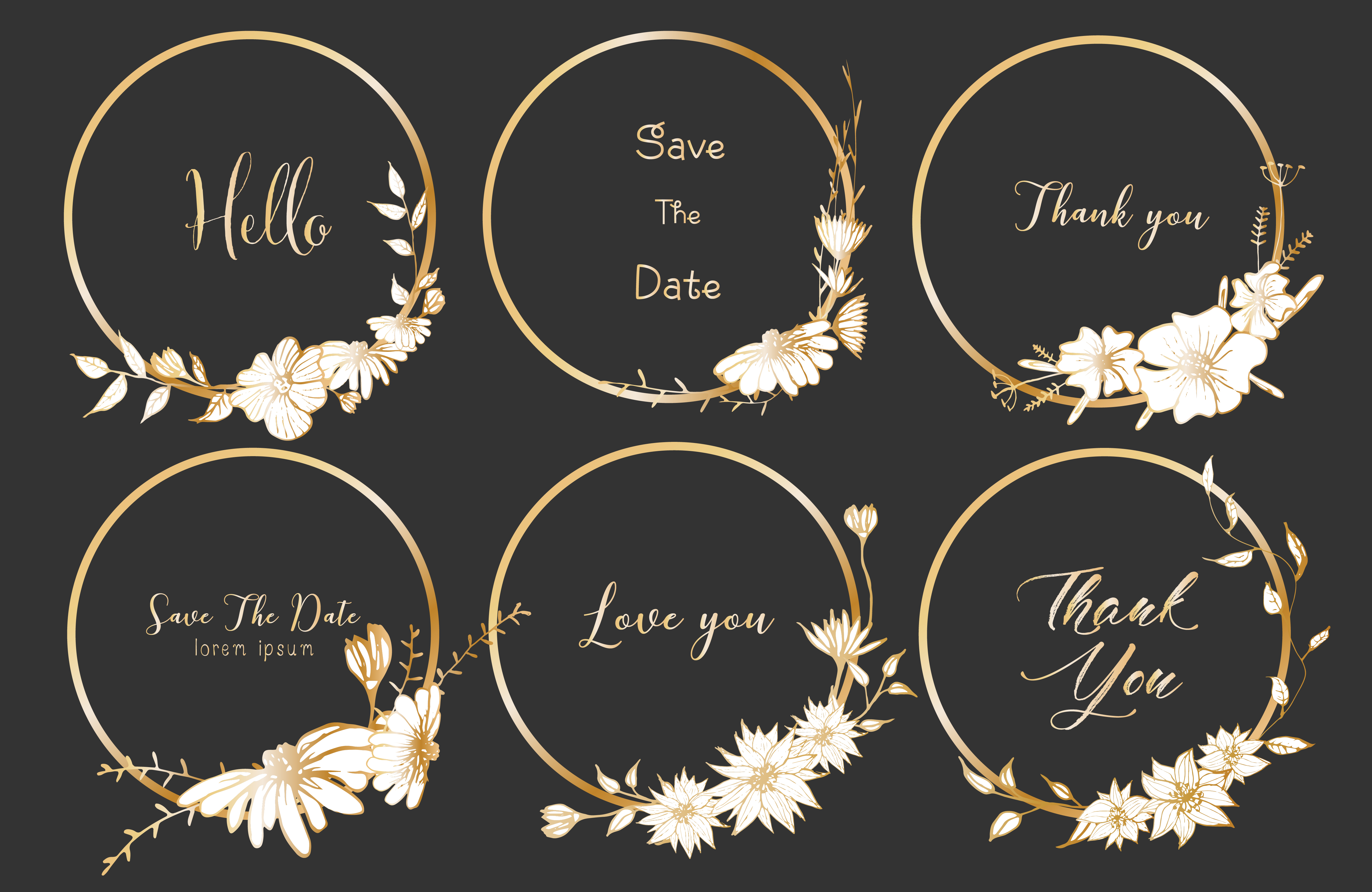 Set Of Dividers Round Frames Hand Drawn Flowers Botanical Composition Decorative Element For Wedding Card Invitations Vector Illustration 563937 Download Free Vectors Clipart Graphics Vector Art