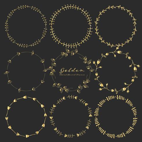 Sats med gyllene blommiga runda ramar för dekoration, Dekorativa runda ramar. Vektor illustration.