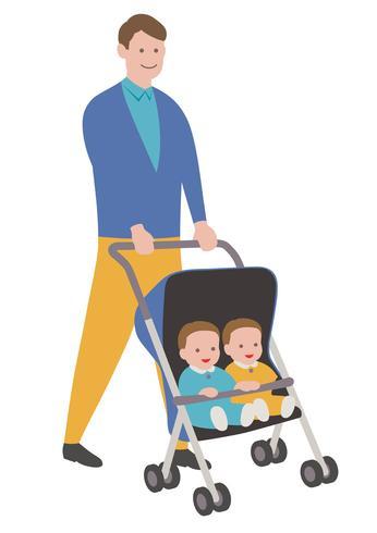 Père avec des bébés dans une poussette, isolé sur fond blanc.