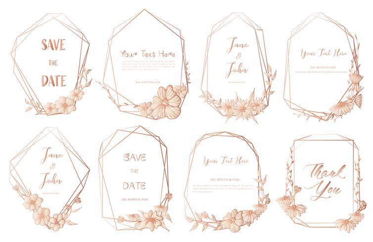 Sistema del bastidor geométrico, flores dibujadas mano, composición botánica, elemento decorativo para la invitación de boda, ejemplo del vector de las invitaciones.