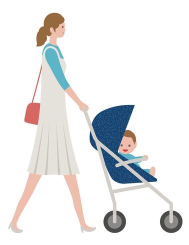 Moeder met een baby in een wandelwagen, die op witte achtergrond wordt geïsoleerd.