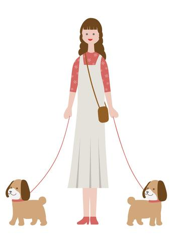 Woman walking dogs, isolated on a white background.