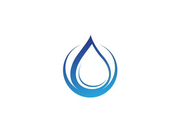 Vatten droppe och blad Logo Mall vektor illustration