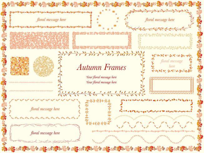 Reeks geassorteerde bloem en installatiekaders in de herfstkleuren.