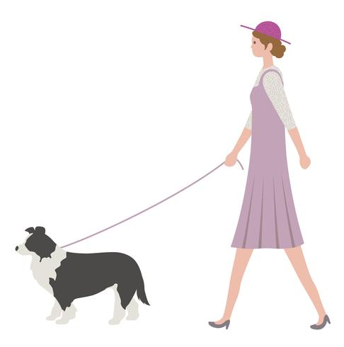 Woman walking a dog, isolated on a white background.round.