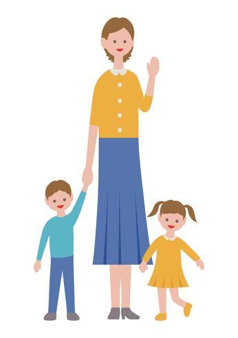 Moeder met kinderen in vlakke stijl geïsoleerd op een witte achtergrond.
