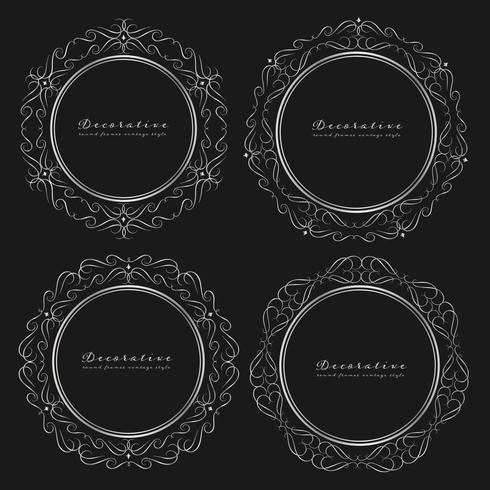 Ensemble de style vintage cadres ronds décoratifs. Illustration vectorielle