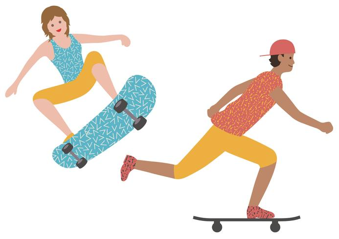 Set of a man and a woman skateboarding isolated on a white background.