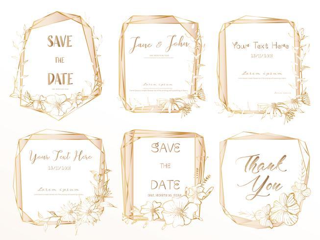 Satz des geometrischen Rahmens, Hand gezeichnete Blumen, botanische Zusammensetzung, dekoratives Element für Hochzeitskarte, Einladungen Vector Illustration.