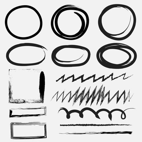 Reeks van penseelstreek, zwarte inkt grunge penseelstreken. Vector illustratie ..
