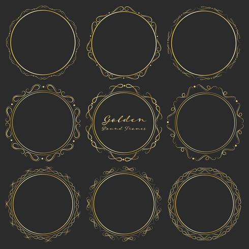 Set van gouden ronde frames voor decoratie, decoratieve ronde frames. Vector illustratie.