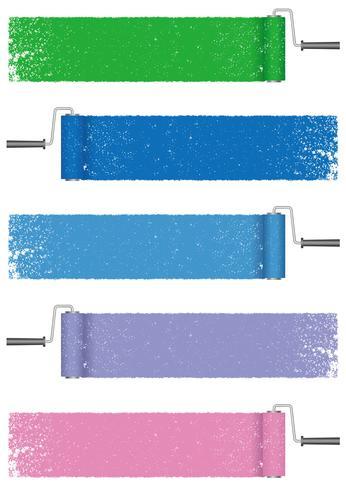 Set van verf roller abstracte achtergronden geïsoleerd op een witte achtergrond.