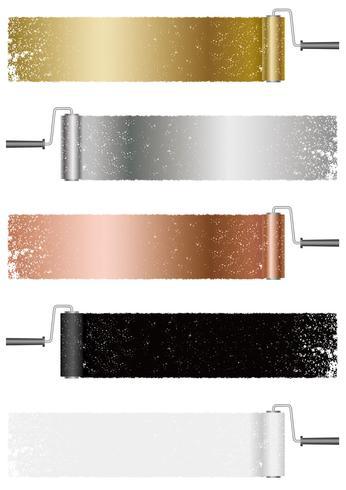 Set di sfondi astratti di rullo di vernice isolato su uno sfondo bianco.