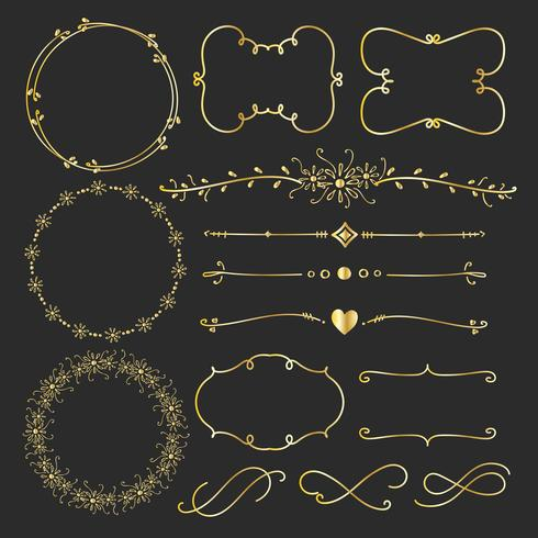 Set van gouden decoratieve kalligrafische elementen voor decoratie. Handgemaakte vectorillustratie.