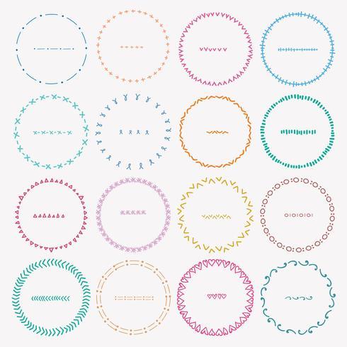 Set van kleurrijke ronde frames voor decoratie. Handgemaakte vectorillustratie.