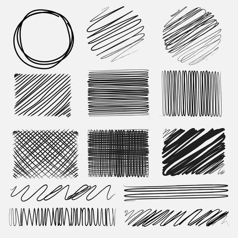 Vector set of line grunge brushes textures. Handmade Vector Illustration.