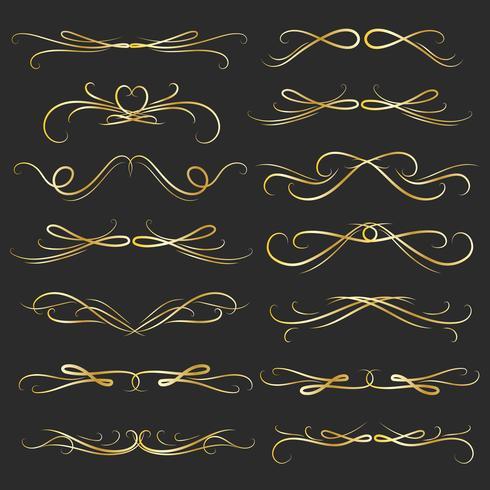 Conjunto De Elementos Caligráficos Decorativos De Oro Para La Decoración. Ilustración vectorial hecha a mano vector