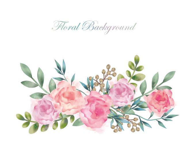 Akvarellblomma bakgrunds illustration med textutrymme isolerad på en vit bakgrund.