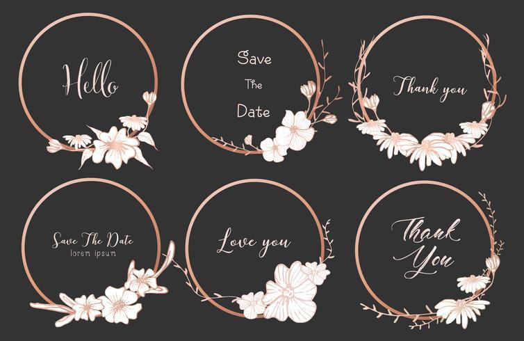 Insieme dei telai rotondi dei divisori, fiori disegnati a mano, composizione botanica, elemento decorativo per la partecipazione di nozze, illustrazione di vettore di inviti.