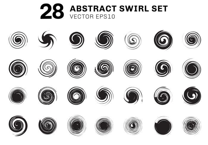 Ensemble de spirales noires abstraites et tourbillon collection d'éléments de mouvement sur fond blanc. Vous pouvez utiliser des icônes, des brochures sur les ingrédients, des affiches, des flyers, des dépliants, des bannières web, etc.