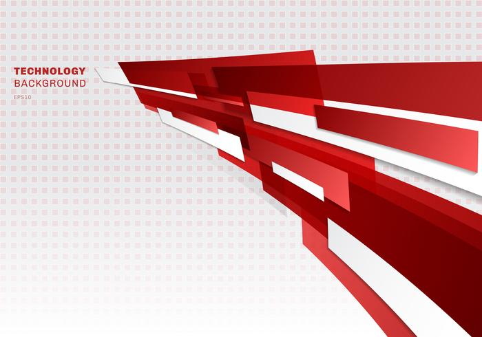 Abstract red and white shiny geometric shapes overlapping moving technology futuristic style presentation perspective background with copy space vector