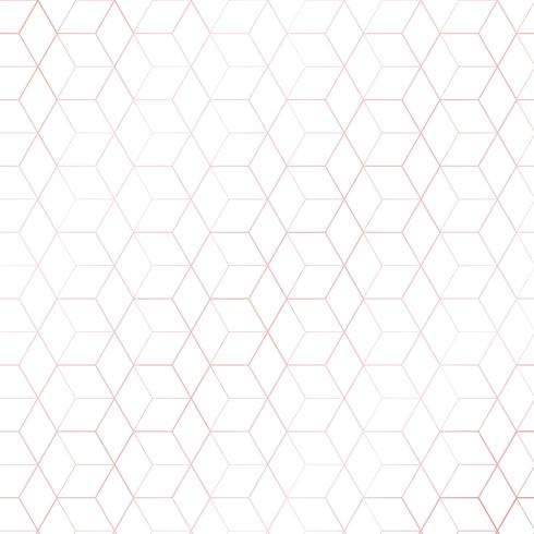 Pink gold geometric hexagons or cube outline pattern on white background. luxury style.