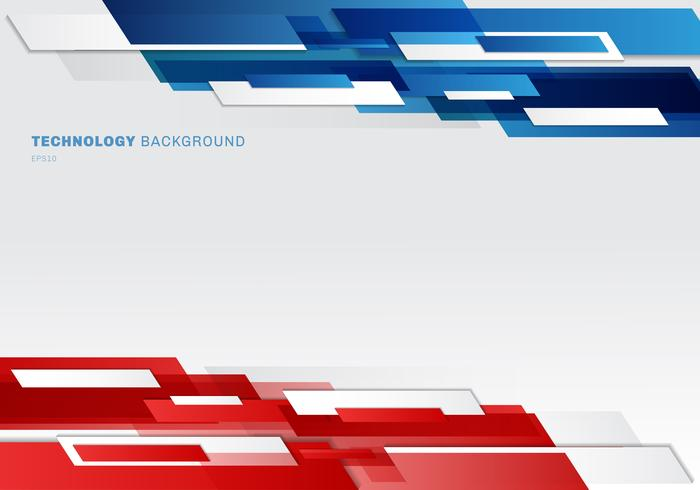 Abstract header blue, red and white shiny geometric shapes overlapping moving technology futuristic style presentation background with copy space vector