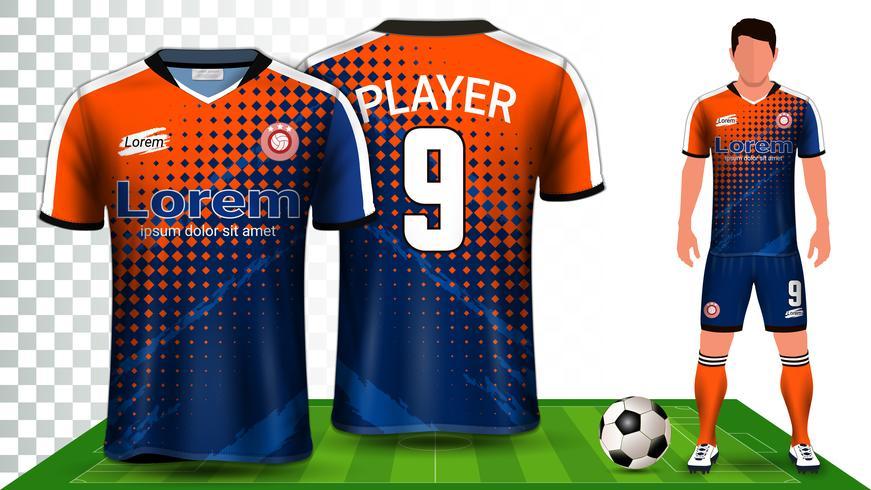 Maqueta de fútbol, camiseta deportiva o equipo de fútbol. Plantilla de maqueta de presentación. vector
