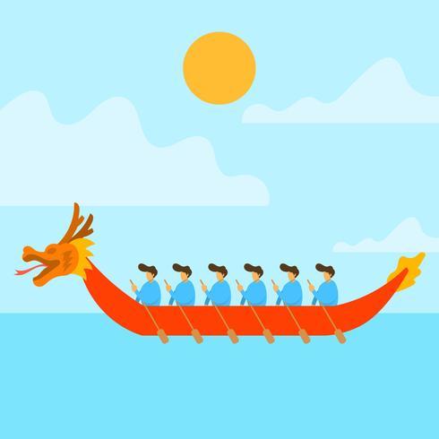 Flat Dragon Boat Festival Vector Illustration