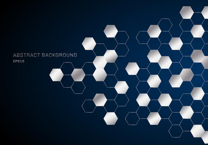 Abstract geometric hexagons pattern silver metal on dark blue background technology style. vector