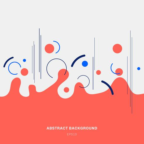 Abstract composition red geometric splash circles shapes and blue lines on white background trendy style.