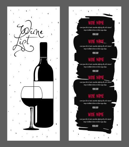 Diseño de carta de vinos.