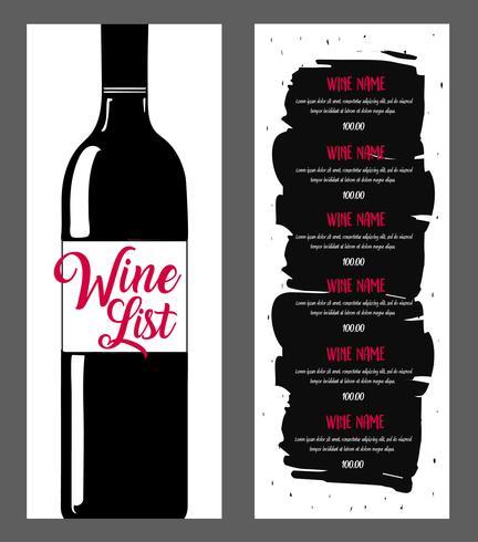 Design da lista de vinhos.