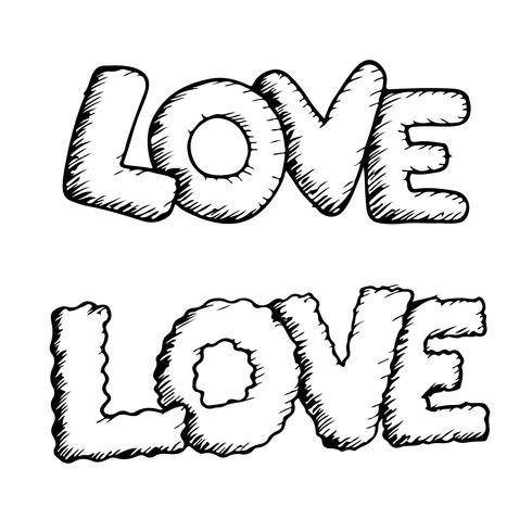 Amo o texto de design de letras manuscritas vetor