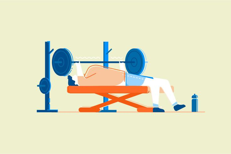 Flache Illustration des Turnhalleneignungs-Trainings