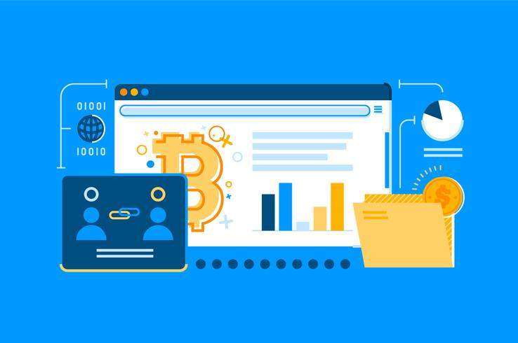 Bitcoin web transaction illustration set
