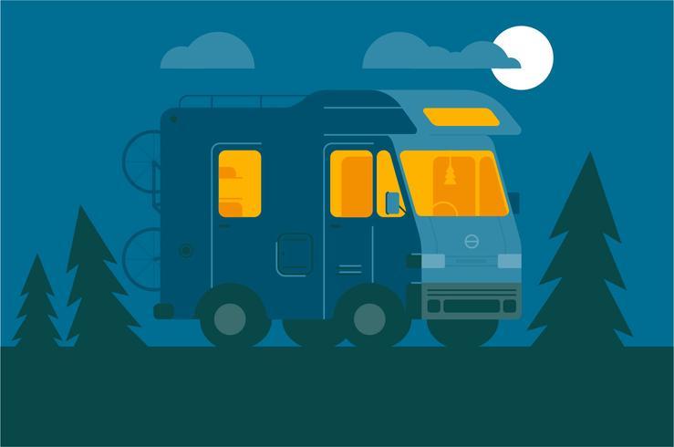 Camper van night illustration background