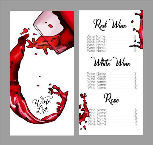Desenho vetorial para lista de vinhos.