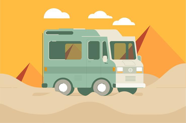 Camper van woestijn illustratie achtergrond