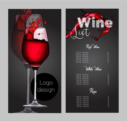 Vektordesign für Weinkarte.