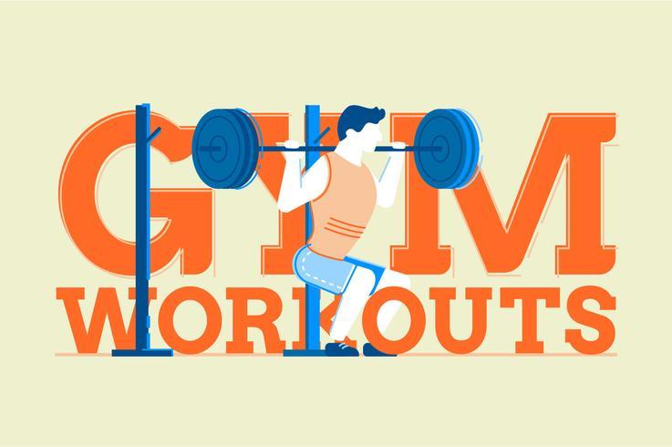 Gym fitness workouts flat illustration