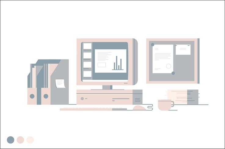 Corporate workspace vector illustration
