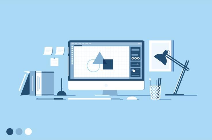 Illustration vectorielle de concepteur d'espace de travail