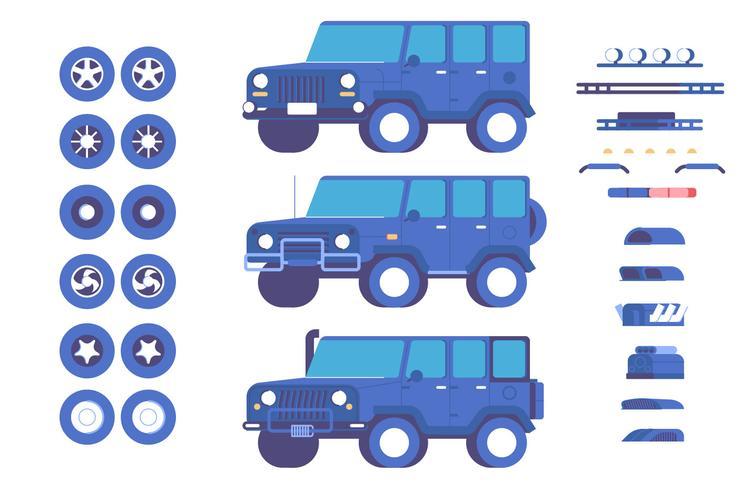 Jipe veículo peças personalização mod ilustração conjunto
