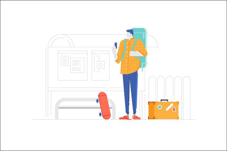 Pessoas, personagem, parada ônibus, ilustração