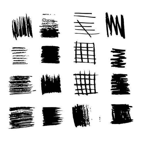 hand drawn brush stroke ink sketch line vector