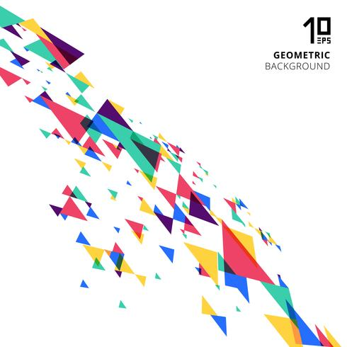 Abstract element colorful and creative modern geometric overlapping triangles perspective on white background.