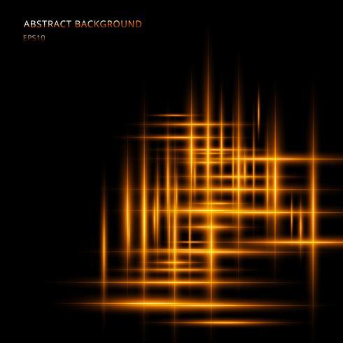 Linea luminosa gialla o arancio astratta movimento al neon incandescente su fondo nero con lo spazio il tuo testo. Raggi laser del movimento di illuminazione.